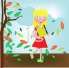 Girl Walking to School in the Autumn clipart