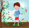 Boy Walking to School in the Autumn clipart