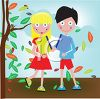 Kids Walking to School in the Autumn clipart