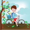 Boy Riding His Bike to School in the Autumn clipart