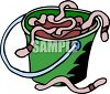 Cartoon of a Bucket of Dirt and Earthworms for Fishing Bait clipart