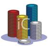 Stacks of Cartoon Poker Chips clipart