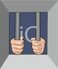Hands of an Imprisoned Criminal on Cell Bars clipart