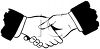 Black and White Hands Shaking clipart
