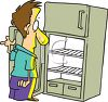 Cartoon of a Hungry Man Looking Into His Empty Refrigerator clipart
