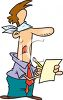Cartoon of a Foolish Man Blindly Signing a Contract clipart