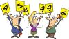 Cartoon of Sporting Event Judges Holding Up Their Votes clipart