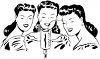 Black and White Vintage Cartoon of a Trio of Female Singers clipart