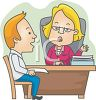Cartoon of a Man on a Job Interview clipart