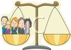 Cartoon of a Bunch of Lawyers Standing on One Side of the Justice Scales clipart