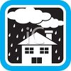 Weather Icon Showing Clouds Raining on a House clipart