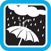 Weather Icon Showing a Rain Cloud Raining on an Umbrella clipart