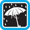 Weather Icon Showing Rain Dropping on an Umbrella clipart