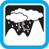 Weather Icon Showing Rain Clouds Over Mountains clipart