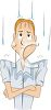 Upset Young Man Getting Rained On clipart