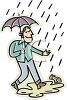Happy Guy Walking in the Rain clipart