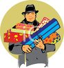 Retro Dad Carrying Birthday Packages clipart