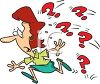 Cartoon of a Woman Running from Question Marks clipart