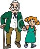 Granddaughter Walking with Her Grampa clipart
