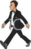 Man Wearing a Tuxedo Going Out clipart