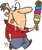 Cartoon of a Guy with a Huge Ice Cream Cone Licking His Lips clipart