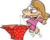 Excited Little Girl Opening a Gift clipart