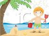 Boy on Vacation at the Beach Making a Sandcastle clipart