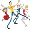 Group of Teen Jumping with Joy clipart