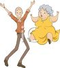 Grandma and Grandpa Jumping for Joy clipart