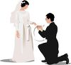 Groom Putting the Ring on His Bride clipart
