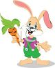 Adorable Cartoon Rabbit Holding a Carrot clipart