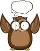 Cute Cartoon Owl with a Conversation Bubble clipart