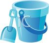 Sandbox Toy Pail and Shovel clipart