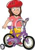 Little Girl with Her First Bike clipart