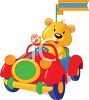Stuffed Bear Driving a Toy Car clipart
