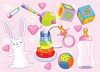 Girl Baby Items Including a Rattle and Blocks clipart