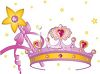 Girl Toys Crown and Magic Wand clipart