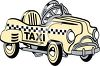 Retro Push Car Taxi clipart