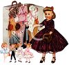 Vintage Doll with a Case Full of Doll Clothes clipart