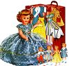 Retro Doll and Doll Clothes in a Carrying Case clipart