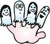 Hand with Finger Puppets clipart