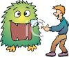 Boy Feeding a Monster clipart