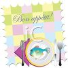 Bon Appetit Place Mat with a Plate of Fish and Utensils clipart
