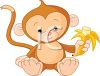 Adorable Little Monkey Eating a Banana clipart