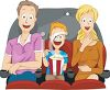 Cartoon of a Family Eating Popcorn at the Theater clipart