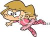 Cute Cartoon of a Little Girl Doing Ballet clipart