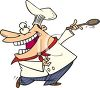 Cartoon of a Happy Chef Dancing clipart