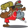 Cartoon of a Little Black Boy Break Dancing clipart