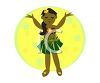 Cartoon of a Little Hawaiian Girl Wearing a Grass Skirt clipart