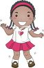 Cartoon of an African American Girl with Braids Dancing clipart